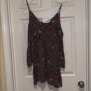 grey floral print off shoulder dress